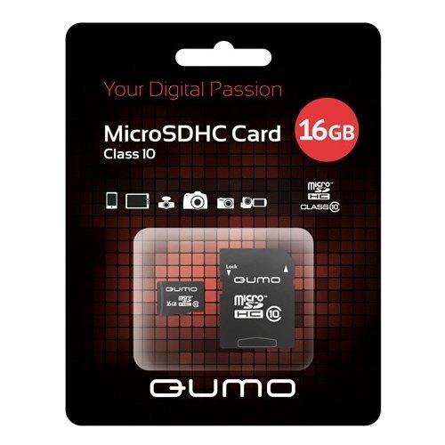 Карта памяти на 16 Гб Qumo microSD (class 10)