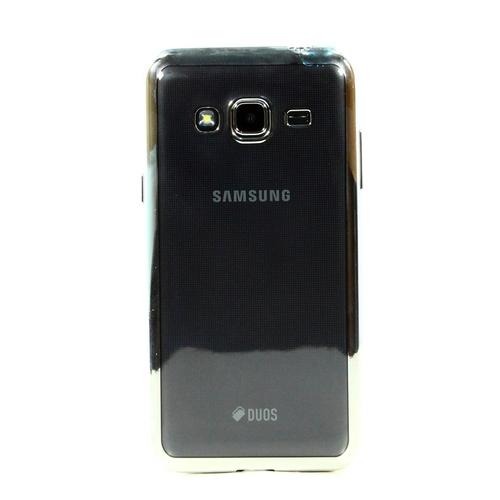 Накладка силиконовая skinBox chrome Samsung Galaxy J3 (2016) Silver