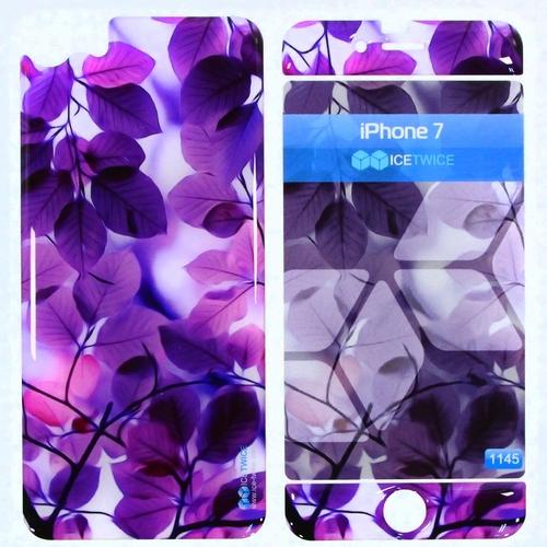 Наклейка силиконовая IceTwice iPhone 7 / iPhone 8 Фиолетовые листья №1145