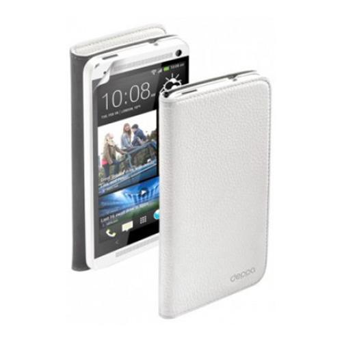 Белый чехол-книжка для HTC One, Deppa Wallet Cover и защитная пленка