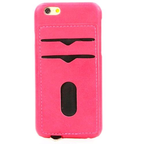 Накладка кожаная Goodcase iPhone 6/6S с держателем 2 карты Pink