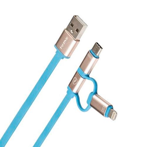 USB кабель Marvo UC-050 Lightning+microUSB+Type C 1m Blue