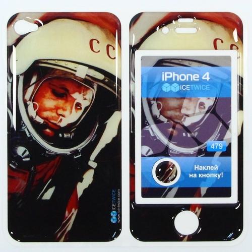 Наклейка силиконовая IceTwice iPhone 4/4S Гагарин №479