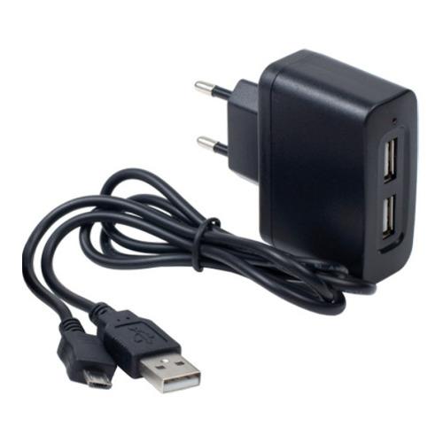 Сетевое зарядное устройство InterStep 2USB + кабель micro USB 1000mAh