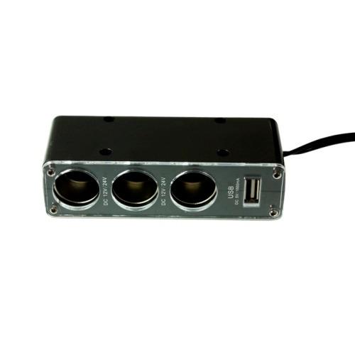 В прикуриватель переходник на 3 twin + USB 1.0, Partner