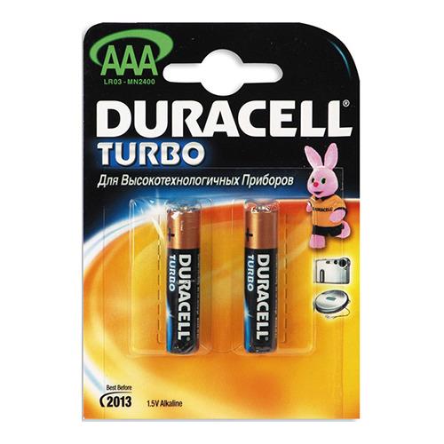 Батарея Duracell LR03 AAA TURBO (блистер 2шт.)
