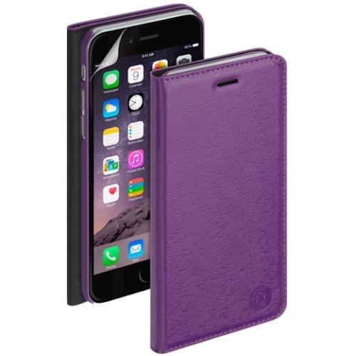 Чехол-книжка для iPhone 6 Plus PU Wallet Cover и защитная пленка, Deppa, фиолетовый