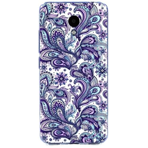 Накладка силиконовая Goodcase Meizu M5C Фиолетовый узор