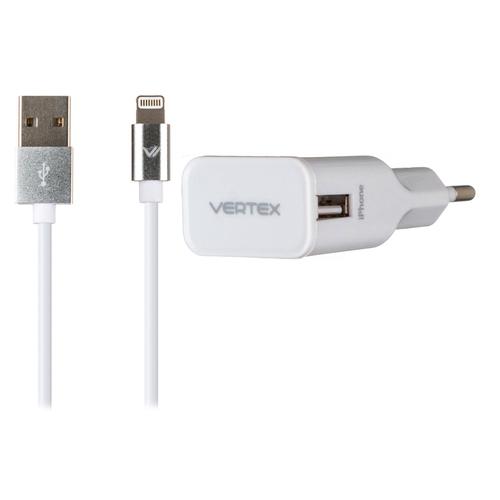 СЗУ Vertex 1USB 2.4А + кабель 8-pin MFI 1A White