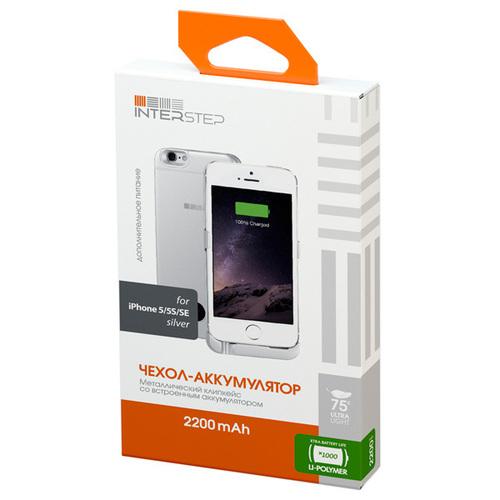 Накладка-аккумулятор InterStep Slim iPhone 5/5S 2200mAh Silver
