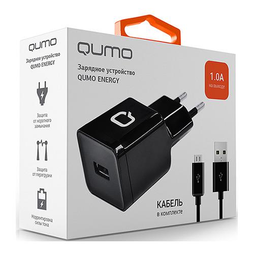 Сетевое зарядное устройство Qumo 1USB 1A + кабель microUSB Black