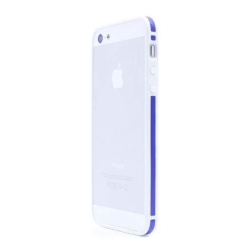 Бампер Deppa Slim для iPhone 5/5S/SE White/Blue