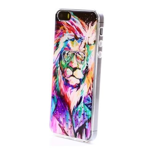 Накладка силиконовая IceTwice iPhone 5/5S Лев Хипстер №840
