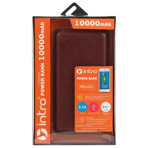 Внешний аккумулятор Intro PB1001 10000 mAh экокожа Brown