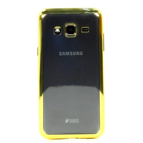 Накладка силиконовая skinBox chrome Samsung Galaxy J3 (2016) Gold