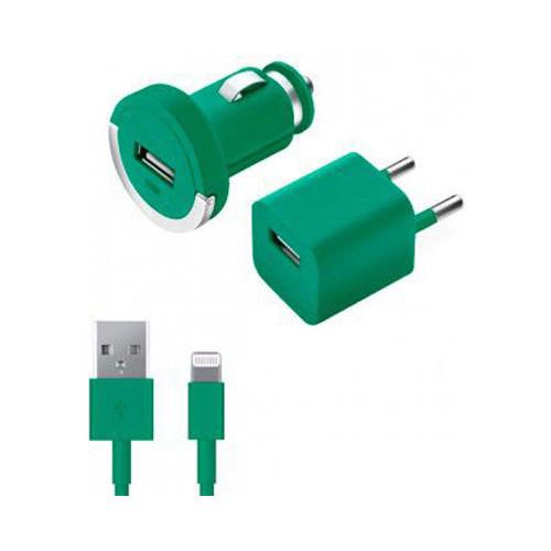 АЗУ+СЗУ Deppa Ultra Colors 1USB + кабель Apple 8-pin 1200mAh Turquoise