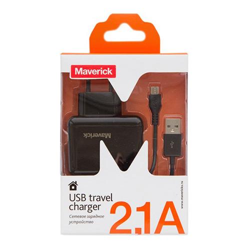 Сетевое зарядное устройство Maverick 2USB (2A+1A) + кабель micro USB Black