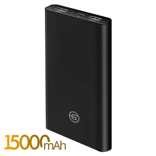 Внешний аккумулятор Ginzzu GB-3915B 15000 mAh 2.4A/5V/2USB Black
