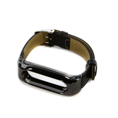 Ремешок Goodcom для фитнес-браслета Xiaomi Mi Band 2 Steel+Leather Black