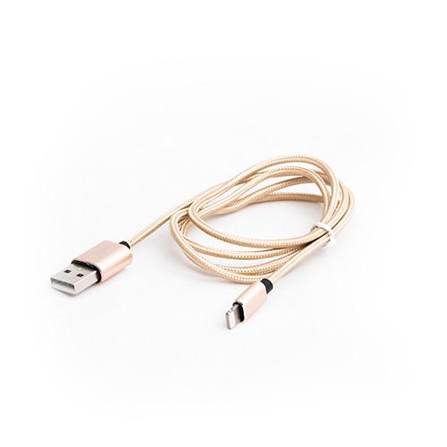 USB кабель Qumo Apple 8-pin 1м (MFI) тканевая оплётка Gold фото