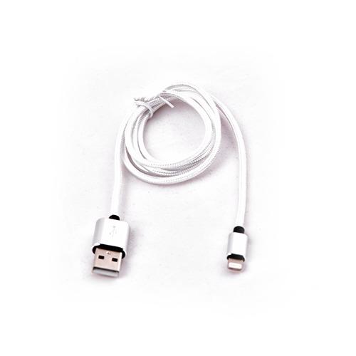 USB кабель Qumo Apple 8-pin 1м (MFI) тканевая оплётка Silver фото
