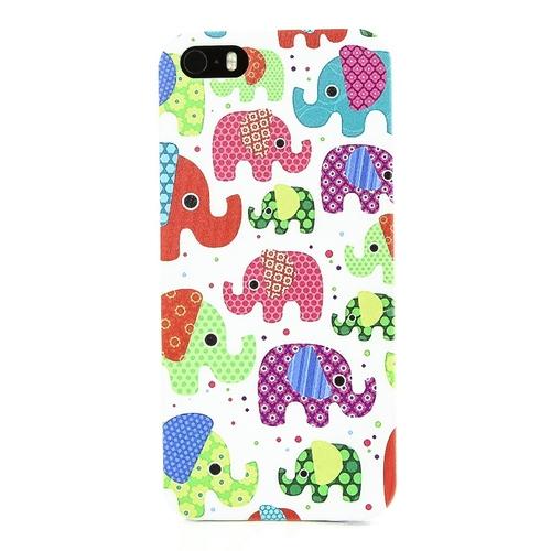 Накладка пластиковая QRCase iPhone 5/5S Красочные слоны N134W