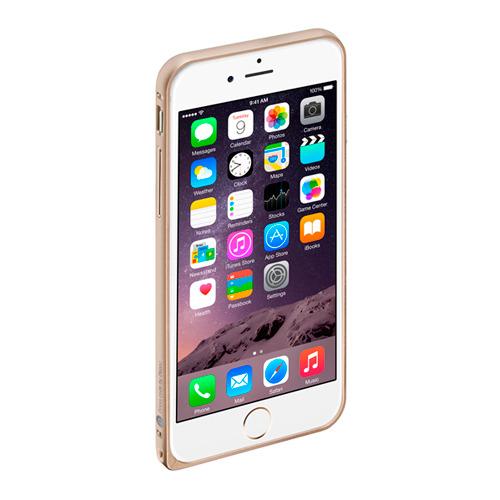 Бампер для iPhone 6 Plus и плёнка Gold, Deppa Alum, желтый
