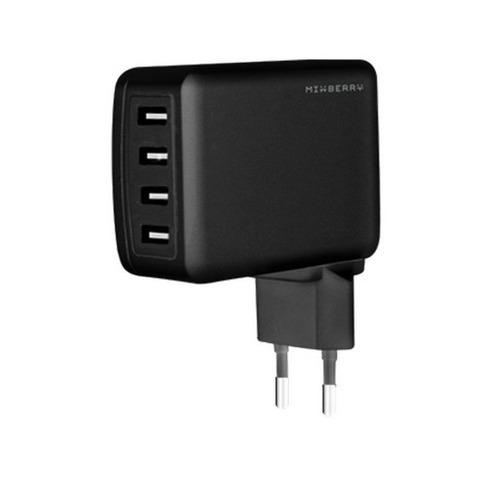 Сетевое зарядное устройство Mixberry Multy Port 4USB 4.8A MWC UL410 Black