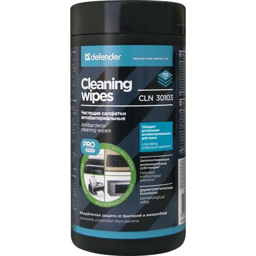Салфетки чистящие влажные Defender для поверхностей антибактериальные CLN 30103 PRO туба 110шт