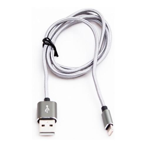 USB кабель Qumo Apple 8-pin 1м (MFI) тканевая оплётка Grey фото