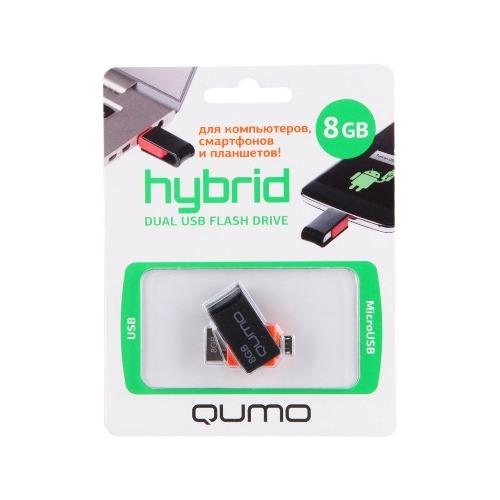 Флешка USB Qumo Hybrid на 8Гб USB 2.0/micro USB