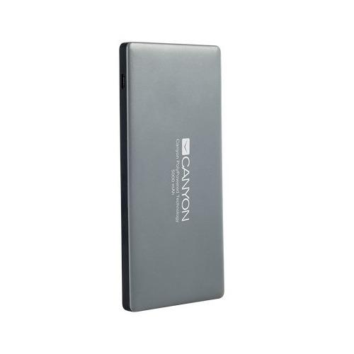 Внешний аккумулятор Canyon H2CNSTPBP5 5000 mAh Dark Grey