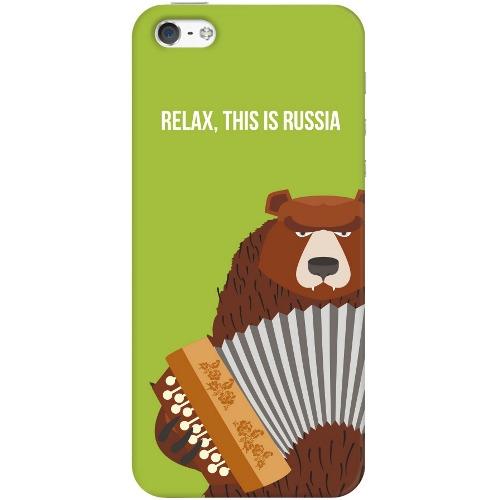 Накладка пластиковая Deppa Art Case iPhone 5/5S Патриот Медведь Гармонь