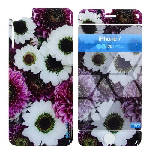 Наклейка силиконовая IceTwice iPhone 7 / iPhone 8 White&Purple flowers №1073