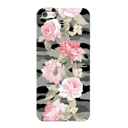 Накладка пластиковая Deppa Art Case iPhone 5/5S/SE Military Пионы