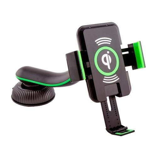 Держатель в авто Saitake STK-A9 + Wireless Charger Green