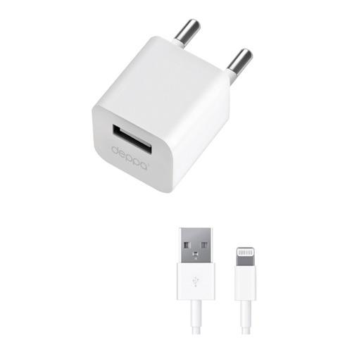Сетевое зарядное устройство Deppa Ultra 1USB + кабель Apple 8-pin 1000mAh White