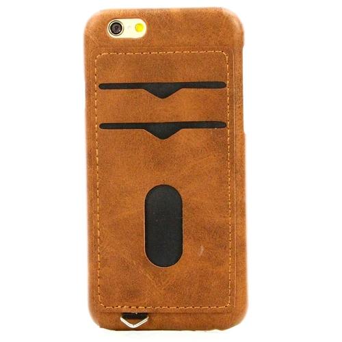 Накладка кожаная Goodcase iPhone 6/6S с держателем 2 карты Brown