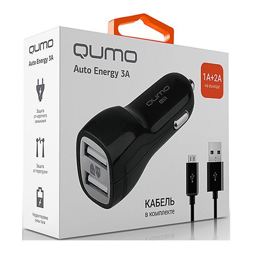 АЗУ Qumo 2 USB 3A (2A+1A) + кабель microUSB