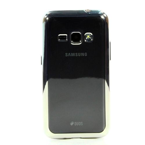Накладка силиконовая skinBox chrome Samsung Galaxy J1 (2016) Silver