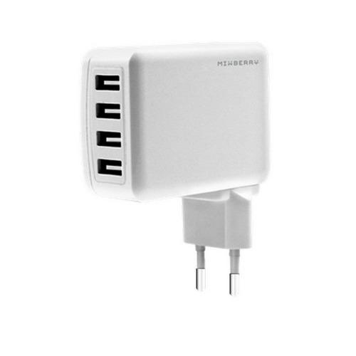 Сетевое зарядное устройство Mixberry Multy Port 4USB 4.8A MWC UL410 White