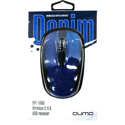 Мышь Qumo Office M44 Denim USB беспроводная Black/Blue