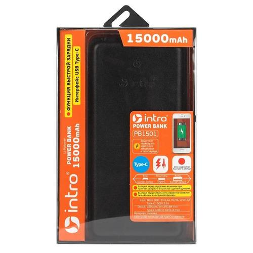 Внешний аккумулятор Intro PB1501 15000 mAh MicroUSB/Type-C экокожа Black