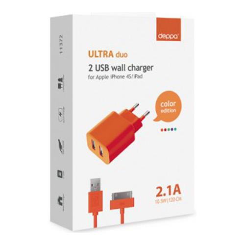 СЗУ Deppa Ultra Colors 2USB + кабель Apple 30-pin 2100mAh Orange