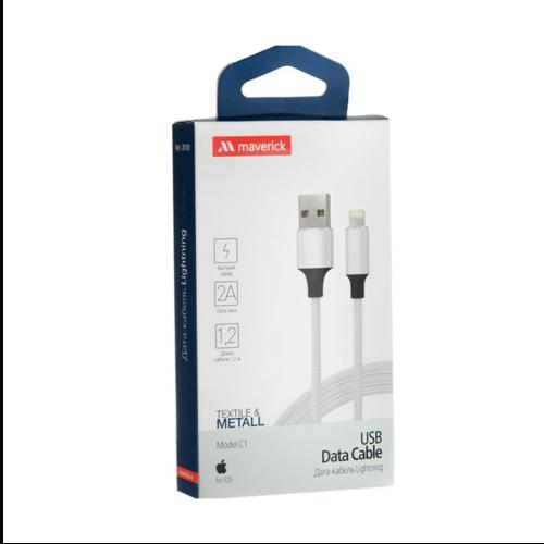 USB кабель Maverick Type-C Textile/Metall 1.2m Black White фото