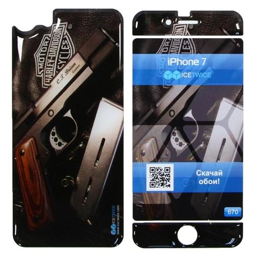 Наклейка силиконовая IceTwice iPhone 7 / iPhone 8 Пистолет №670
