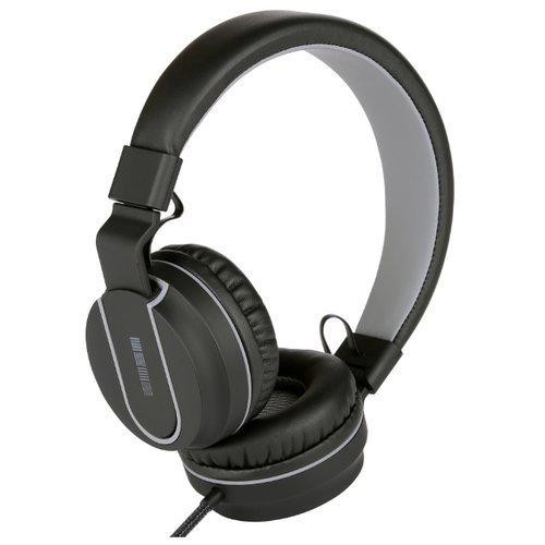 Черные наушники InterStep HDP-170 накладные (3,5 мм) с микрофоном