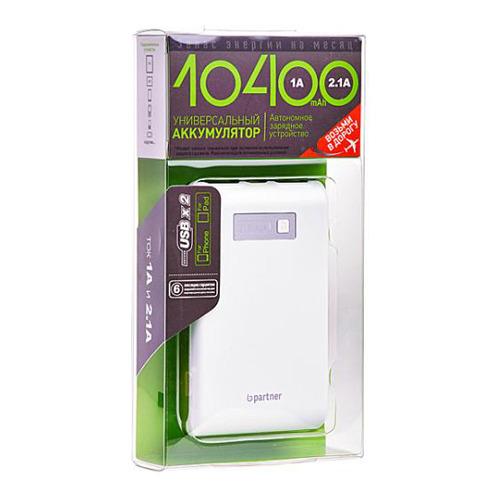 Внешний аккумулятор Partner 10400 mAh White