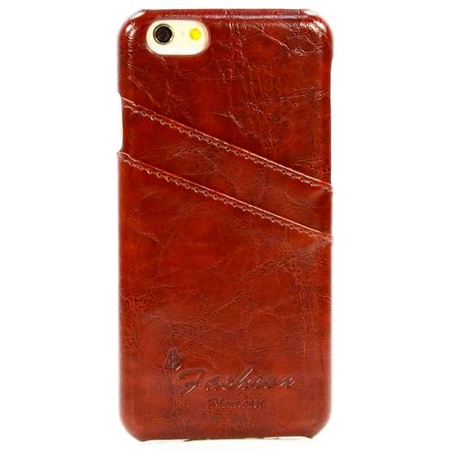 Накладка кожаная Goodcase iPhone 6/6S с держателем для карт Brown