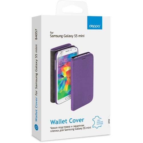 Чехол-книжка для Samsung G800F Galaxy S5 mini  Wallet Cover и защитная пленка , Deppa, белый фото 2